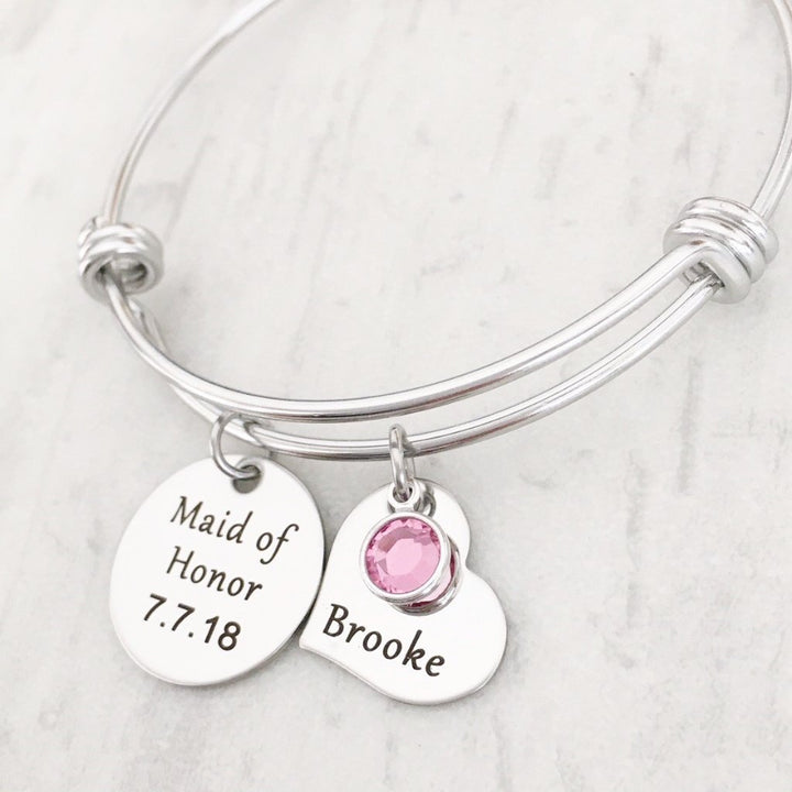 maid of honor with pink stone bangle bracelet with date and name tag
