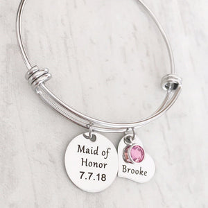 Maid of Honor and Bridesmaid Proposal Silver Charm Bracelet