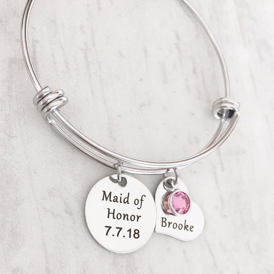 Maid of honor gift bridal bracelet birthstone