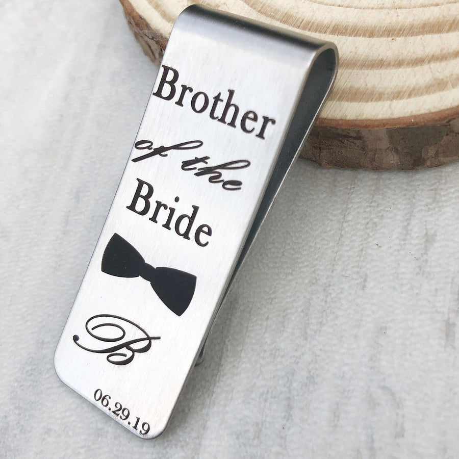 brother of the Bride engraved bowtie with first name initial B and wedding date