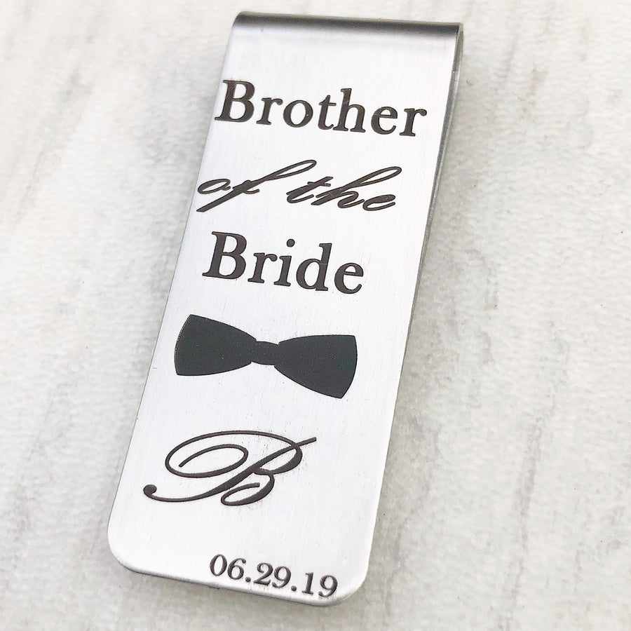 silver wedding money clip with bowtie and initial with wedding date