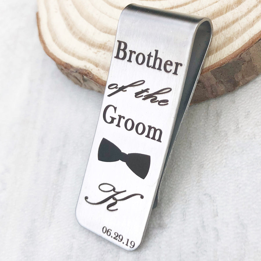 Brother of the groom engraved bowtie with first name initial K and wedding date