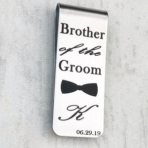 silver wedding brother of the groom initial money clip