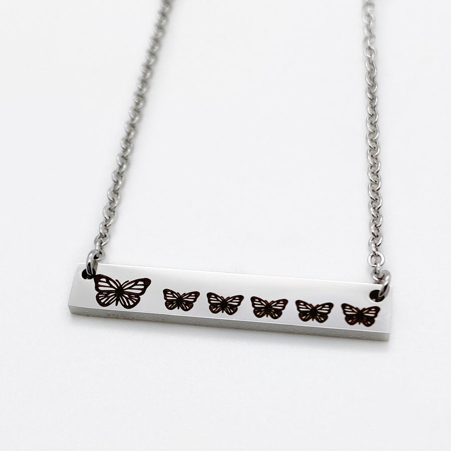 Butterfly Horizontial Bar Necklace