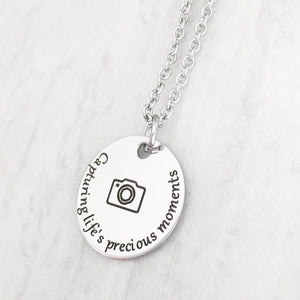 """Capturing Life's Precious Moments"" Photographer Thank You Necklace"
