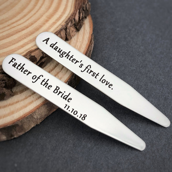 a daughter's first love father of the bride collar stays personalized wedding date