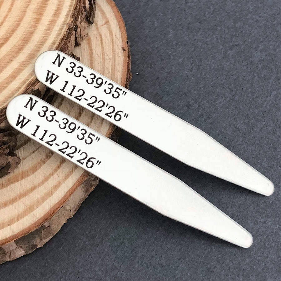 silver wedding location coordinates collar stays for groom
