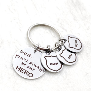 "Silver engraved keychain with ""Dad, you'll always be our hero"". Personalized childrens names in a police badge cutout"