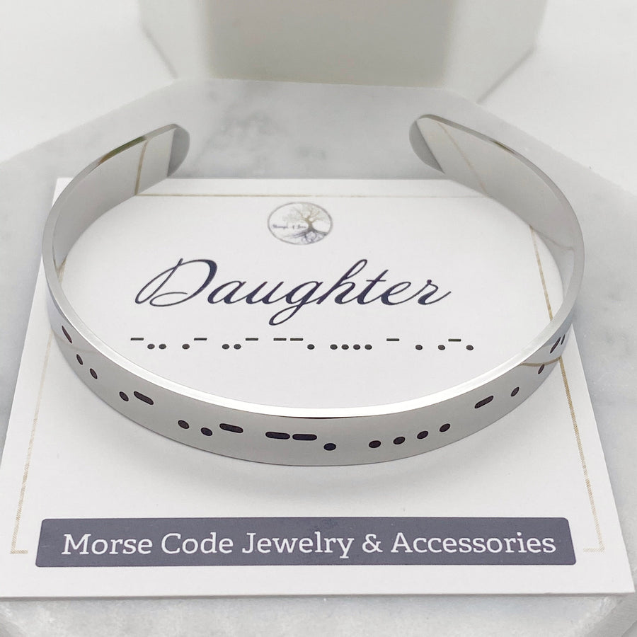 silver daughter morse code cuff bracelet front view