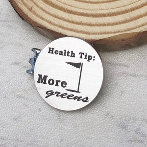 1 inch silver stainless steel round golf hat clip engraved with health tip more greens