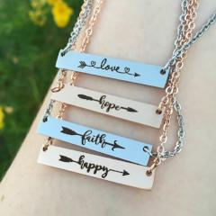 Inspirational Bar Necklace for Women Love Hope Faith Happy Arrow