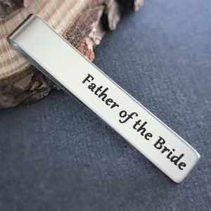 father of the bride stainless steel wedding tie bar clip for dad gift from daughter