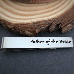 wedding tie bar clip gift for dad from daughter father of the bride engraved stainless steel