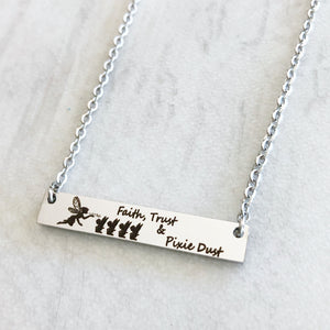 Faith trust and pixie dust mothers fairy and baby bar necklace