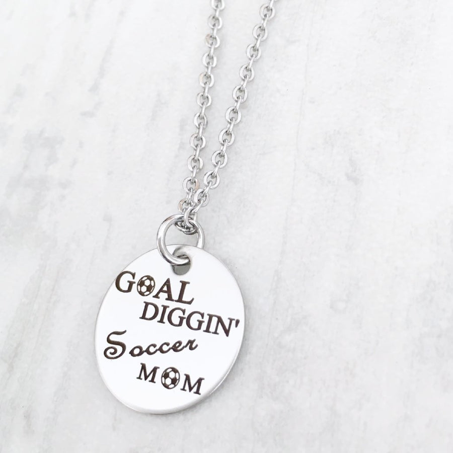 Goal Diggin Soccer Mom Personalized Silver Pendant Necklace