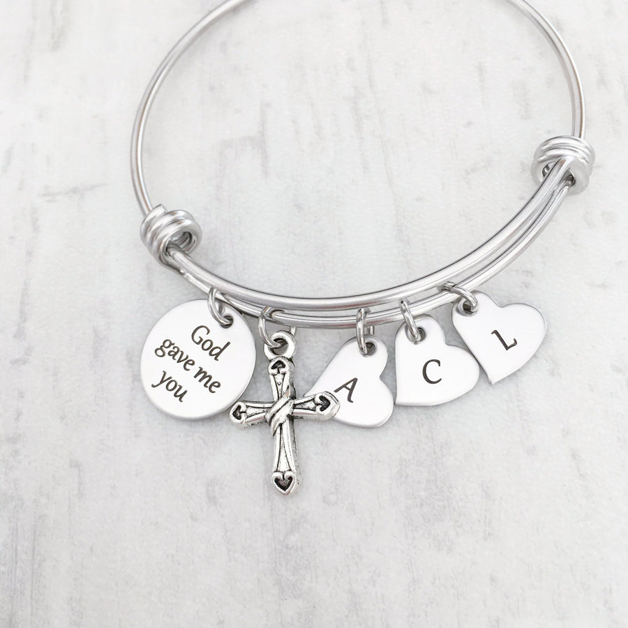 god gave me you mothers charm bracelet with initial tags