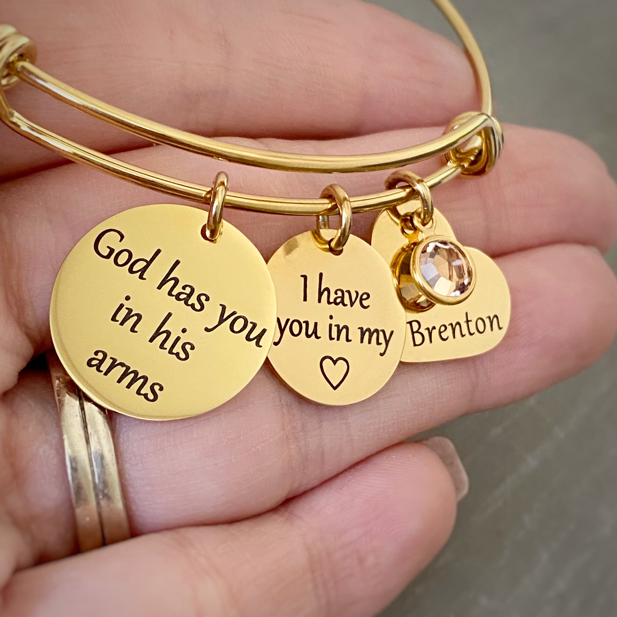 God Has You In His Arms I Have You In My Heart Memorial Bracelet Stamps Of Love