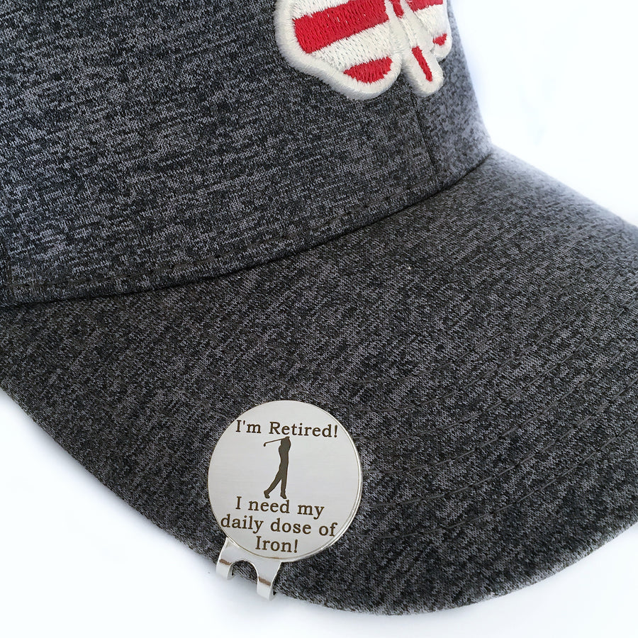 Funny golf ball marker with magnetic hat clip retirement gift for men dad grandpa friend