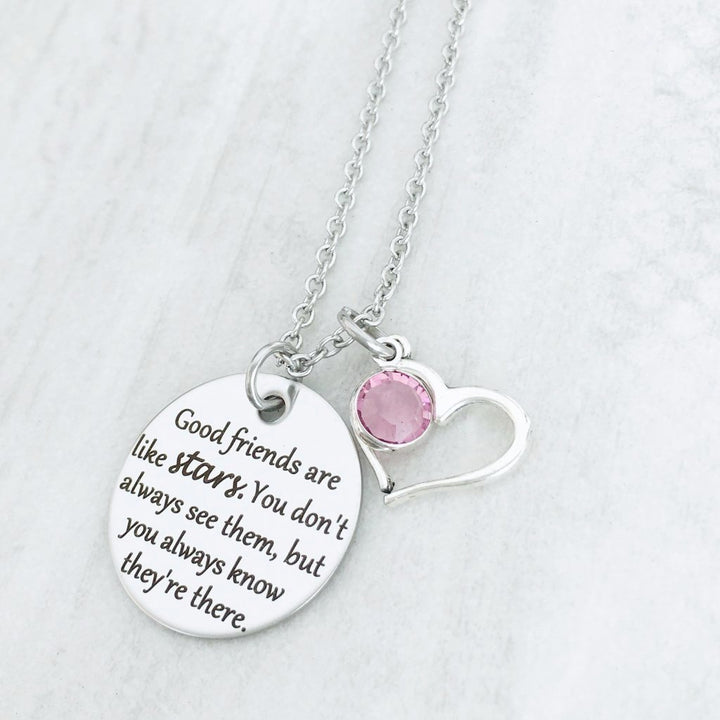 christmas gift silver necklace for best friend with heart and birthstone