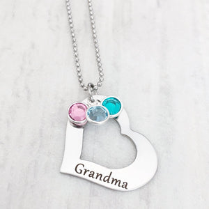 grandma open heart necklace with custom birthstone options christmas gift for nana