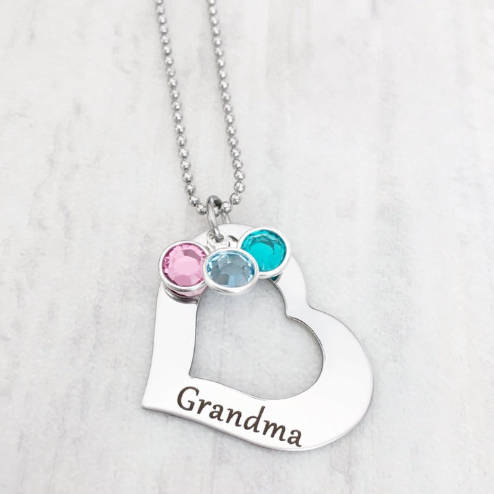 grandma open heart necklace with custom birthstone options