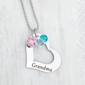 "open heart necklace engraved with ""Grandma"" with custom birthstone options"