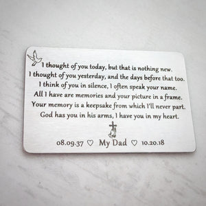 I thought of you yesterday sympathy poem personalized memorial keepsake for loss of a loved one wallet card
