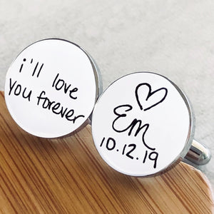 i'll love you forever open heart initials and wedding date handwritten circle silver cufflinks