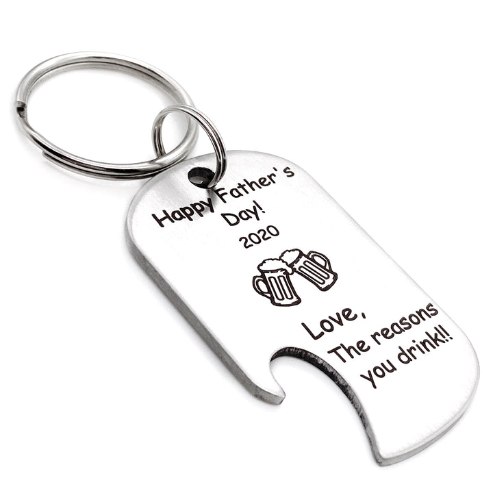 silver bottle cap keychain silver with engraved message happy fathers day 2020 love the reason you drink