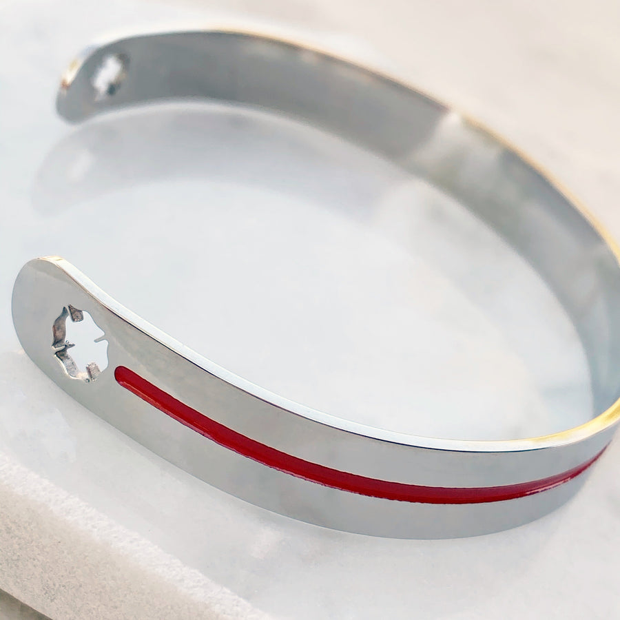 Silver stainless steel cuff bracelet thin red line maltese fireman cross cutout back view
