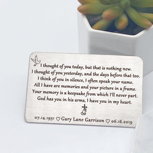 personalized memorial wallet card