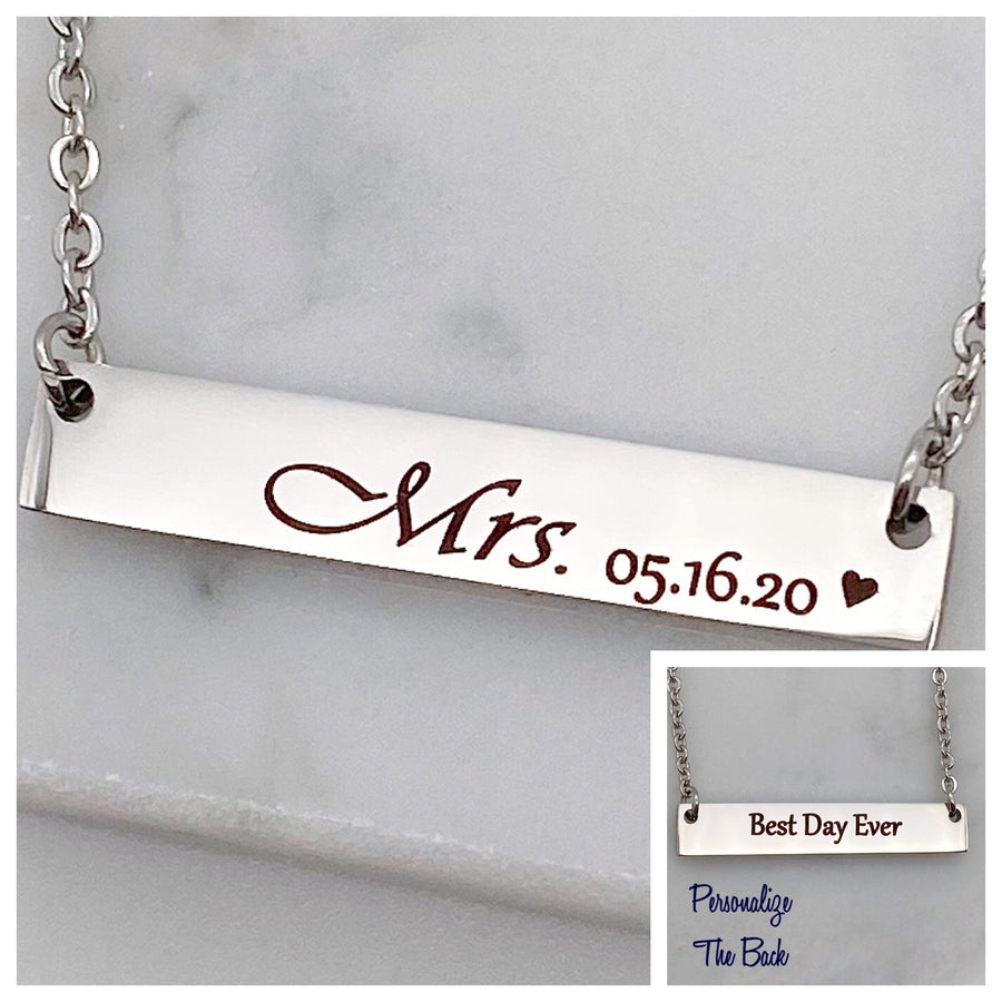 personalize the back of the bar necklace