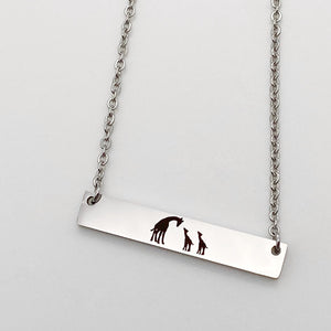 giraffe mothers bar necklace silver