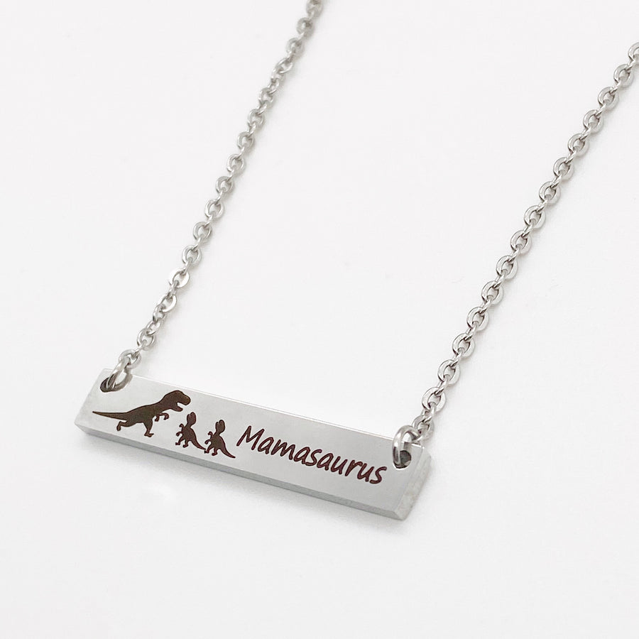 side view dinosaur silver engraved bar necklace with cable chain