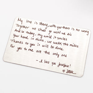 Custom Handwritten Love Note Wallet Card
