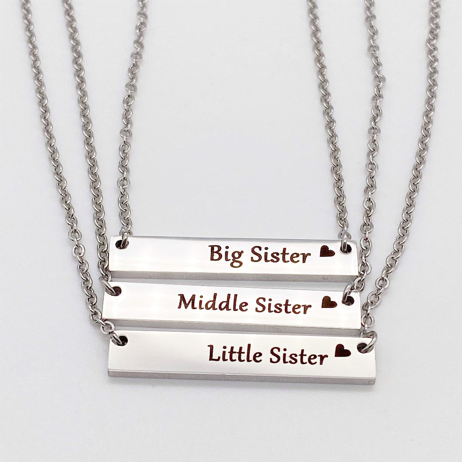 Big Sister, Middle Sister, Little Sister Silver Horizontal Bar Necklaces with stainless steel cable chains