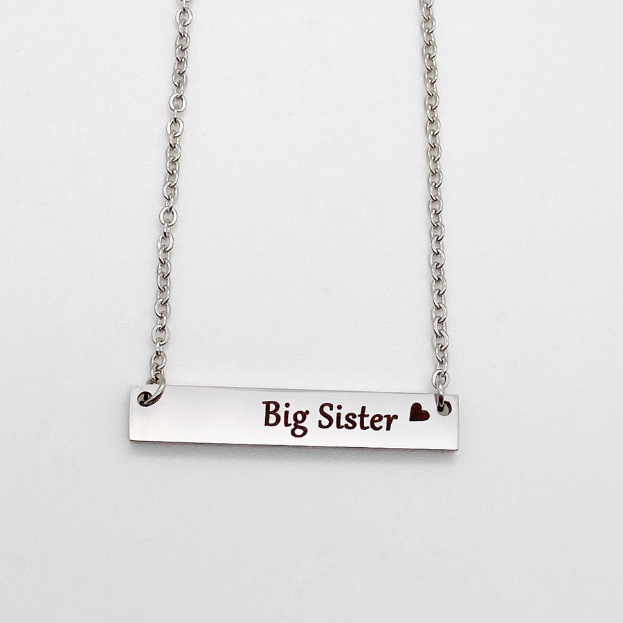 engraved horizontal Big Sister Bar Necklace with cable chain