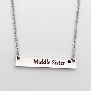 engraved horizontal Little Sister Bar Necklace with cable chain