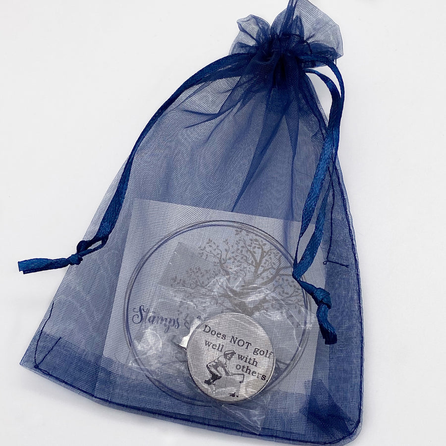 blue organza gift bag from stamps of love