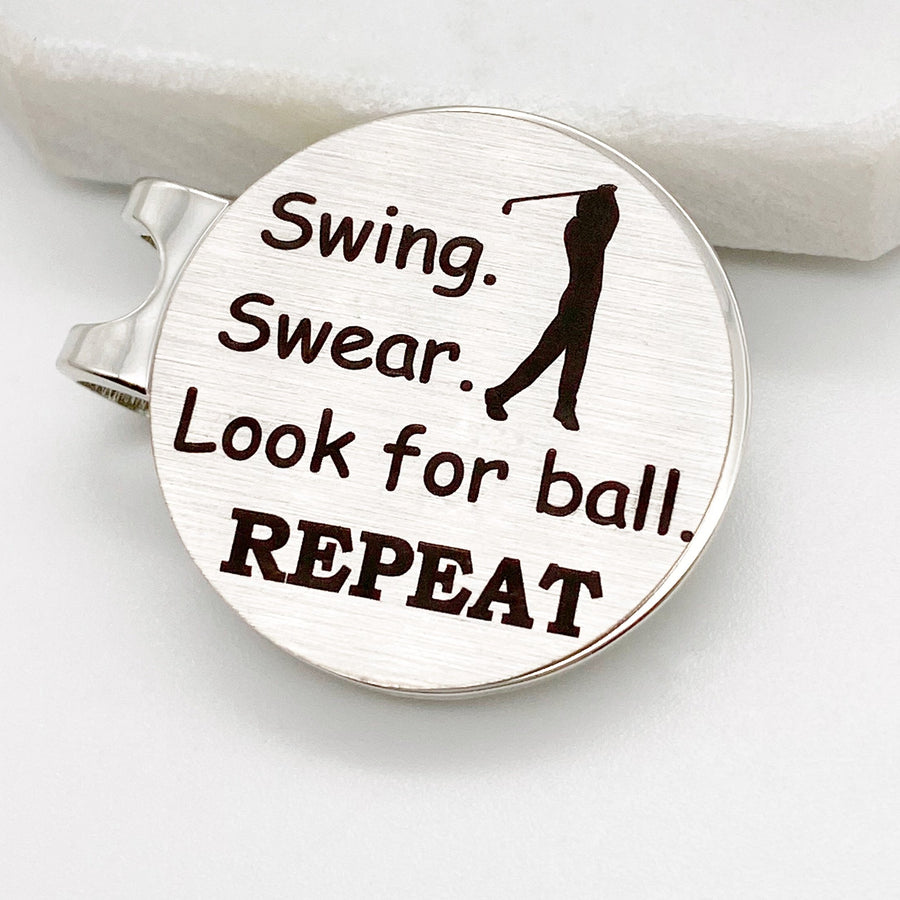 Swing. Swear. Look for ball. REPEAT personalized unique golf ball marker with magnetic hat clip gift for men