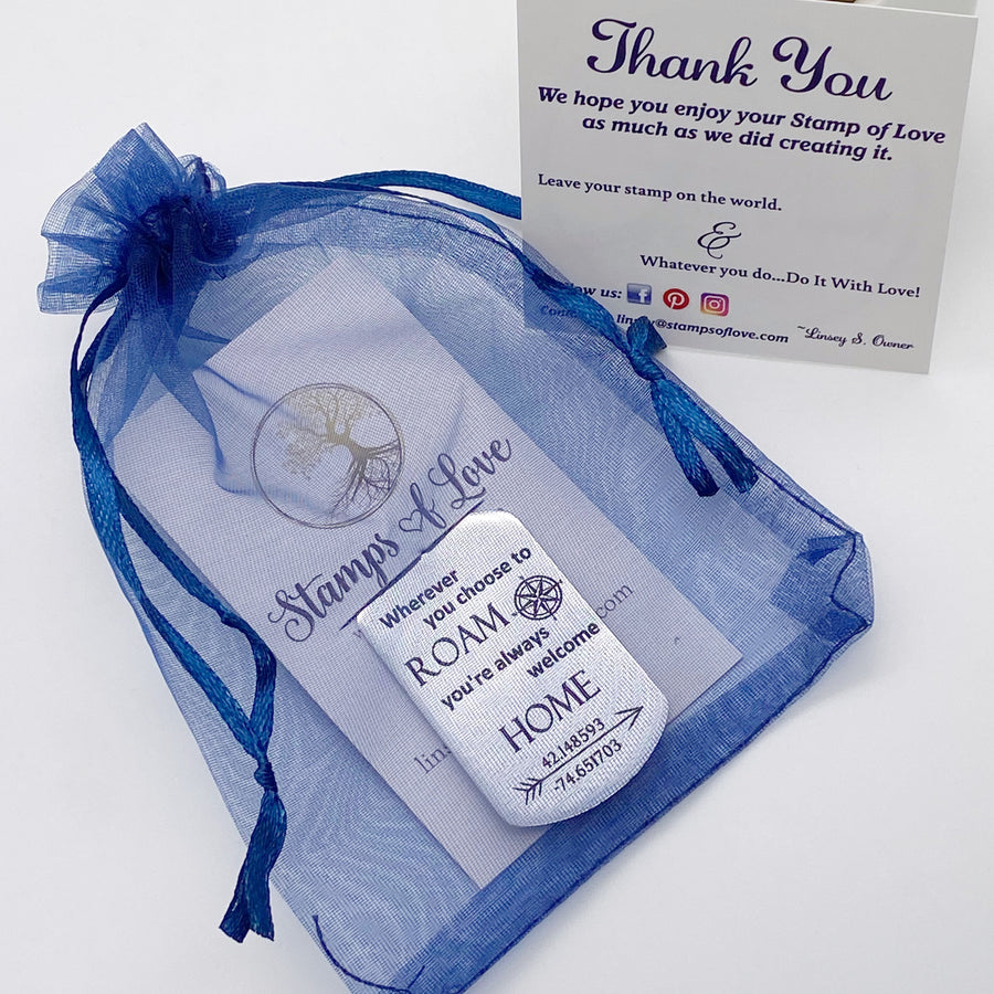 organza gift bag blue