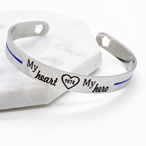 blue line stainless steel cuff bracelet engraved with my heart my hero with open heart and policeman badge number