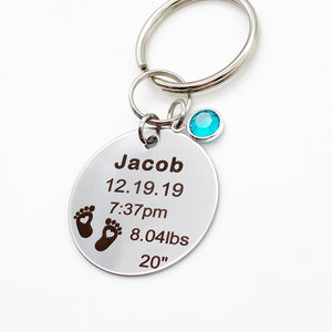 engraved 1.5 inch stainless steel silver disc keychain with name date of birth time weight and length