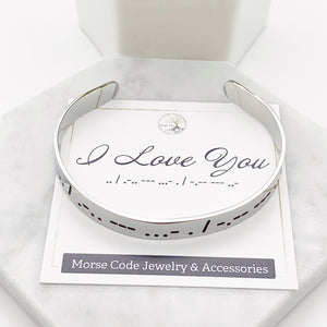 I love you dots and dashes Morse code silver cuff bracelet