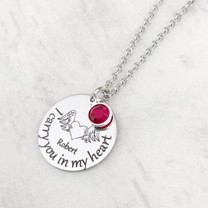 I carry you in my heart necklace with birthstone and name