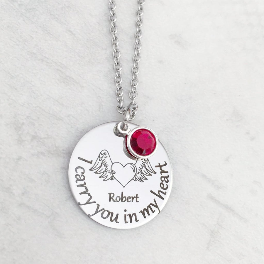 I carry you in my heart necklace for loss of a loved one