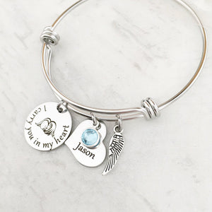 I carry you in my heart bracelet with birthstone charm