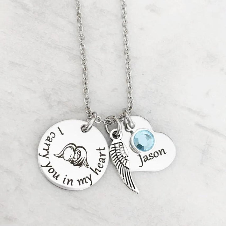 I will carry you in my heart necklace with add on birthstone