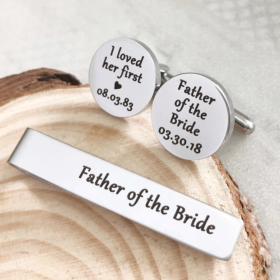 """I loved her first"" Father of the Bride Silver Circle Cufflinks"