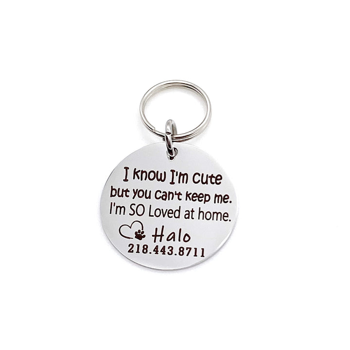 "Silver stainless steel dog collar id tag with black engraving ""I know I'm cute but you can't keep me. I'm SO loved at home"" with a picture of an open heart and dog paw pets name and telephone number"